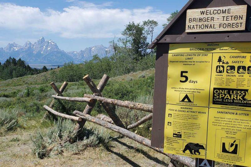 Signs at Bridger Teton National Forest