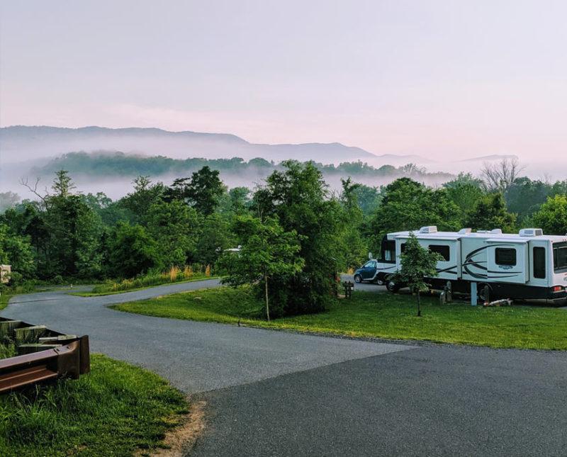 an RV camping at Shenadoah State Park near Shenandoah National Park