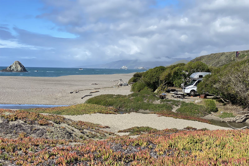 RV camping on the beach at Wright's Beach Campground