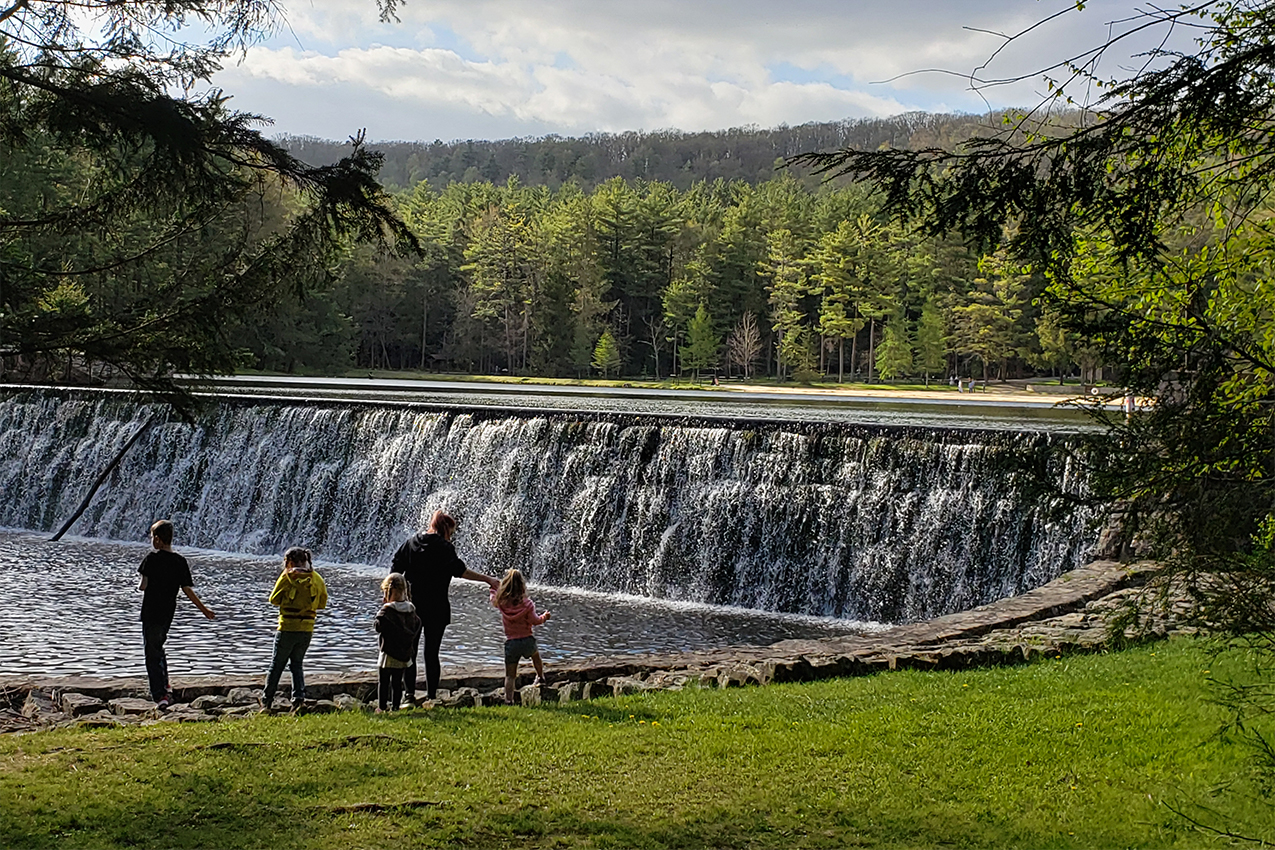 Family of five standing in front of a waterfall.