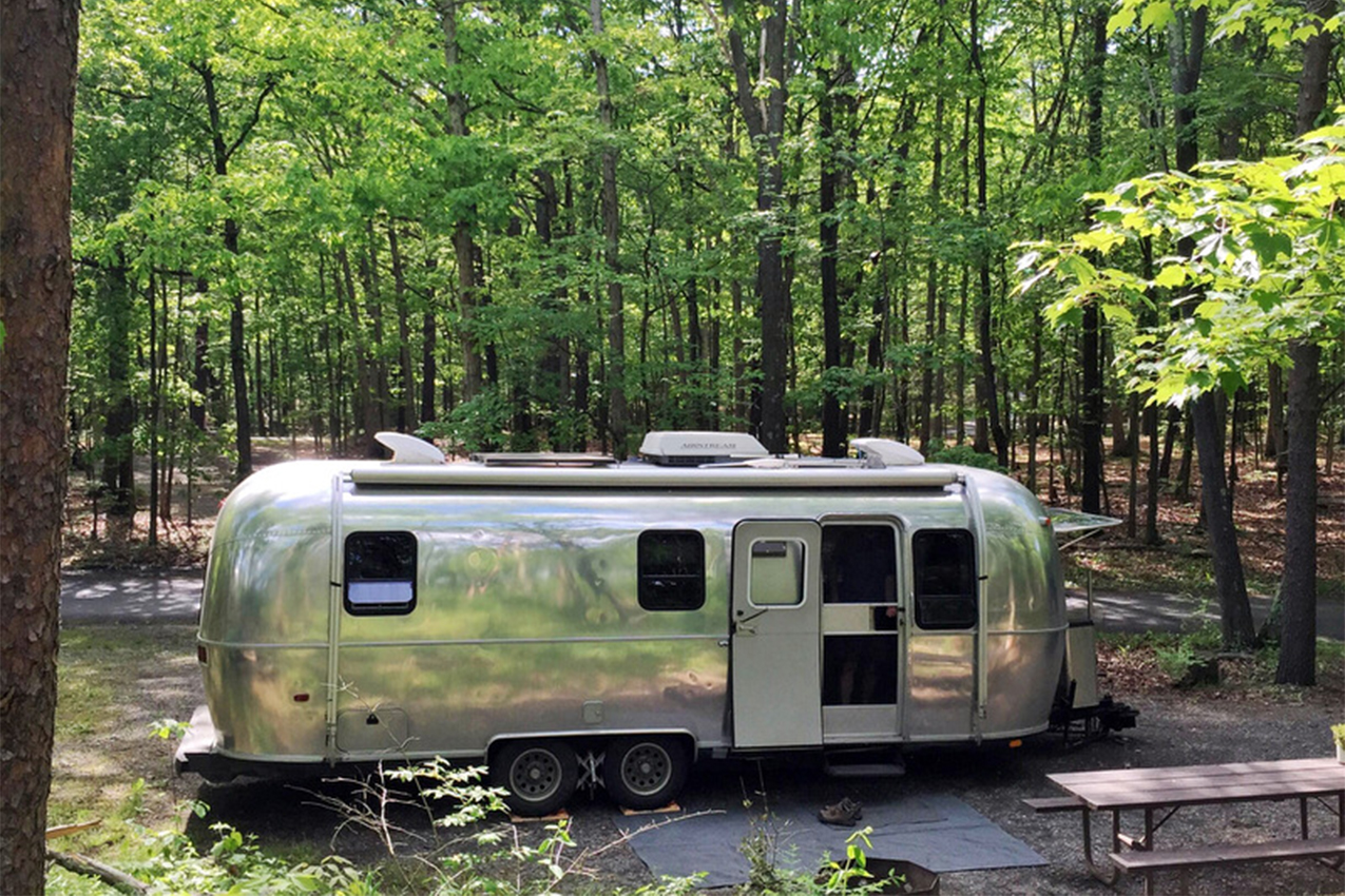 Airstream parked in the woods.
