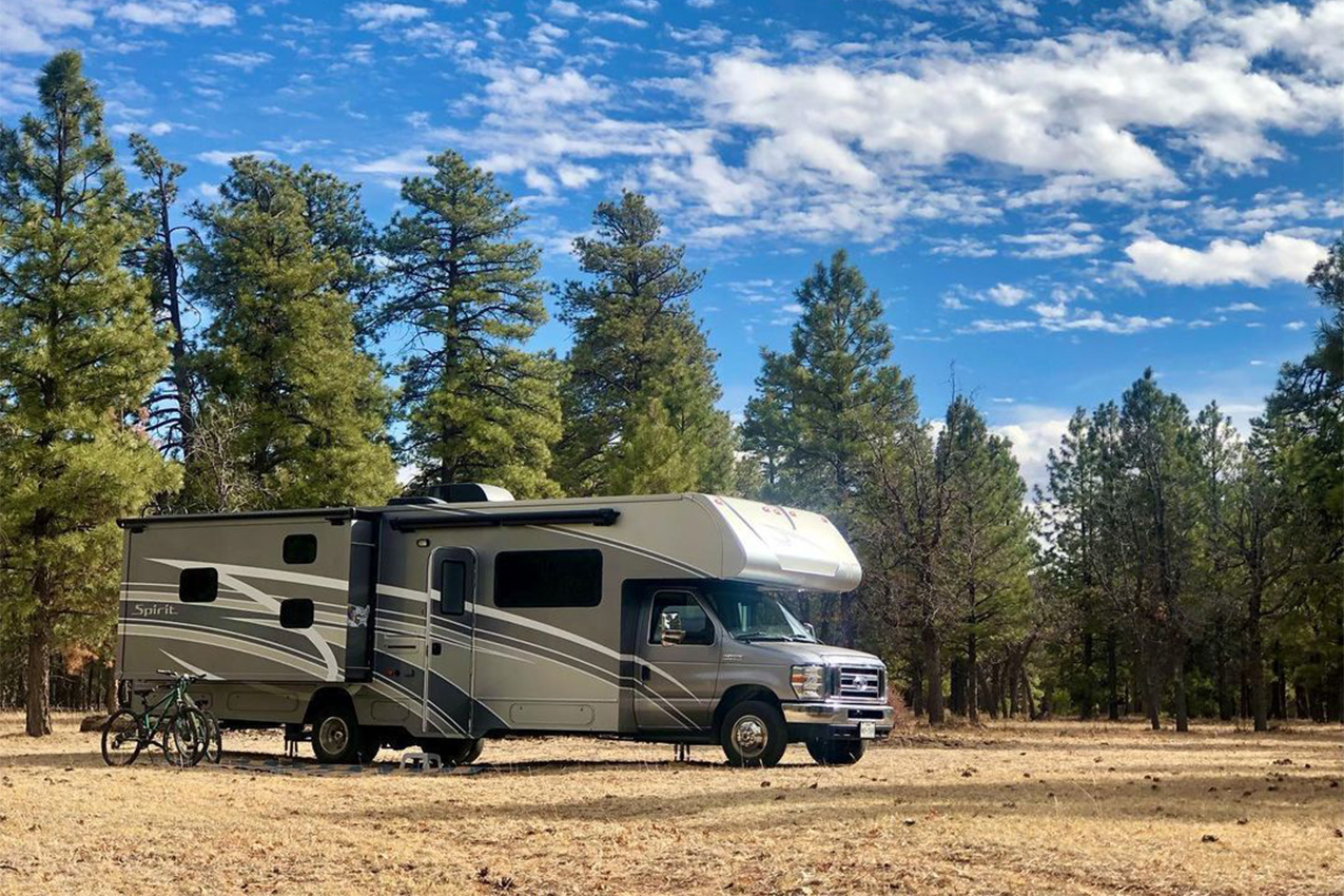 RV parked by some trees.