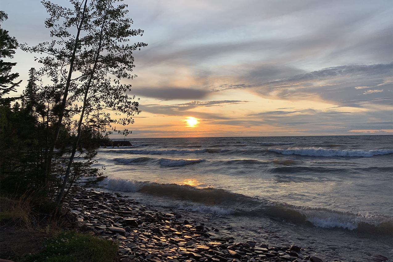 View of a lake at sunset.