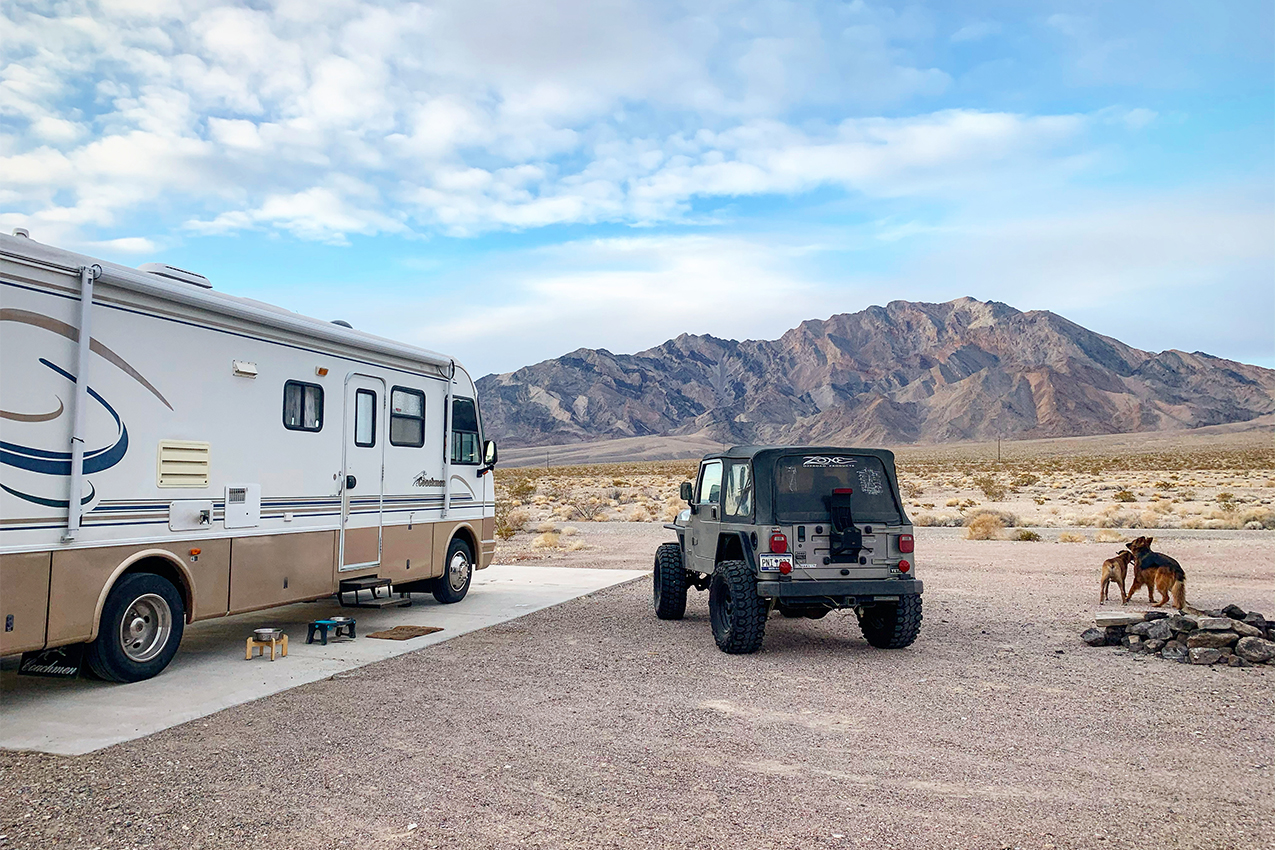 Class A, a Jeep and two dogs hanging out in the desert.