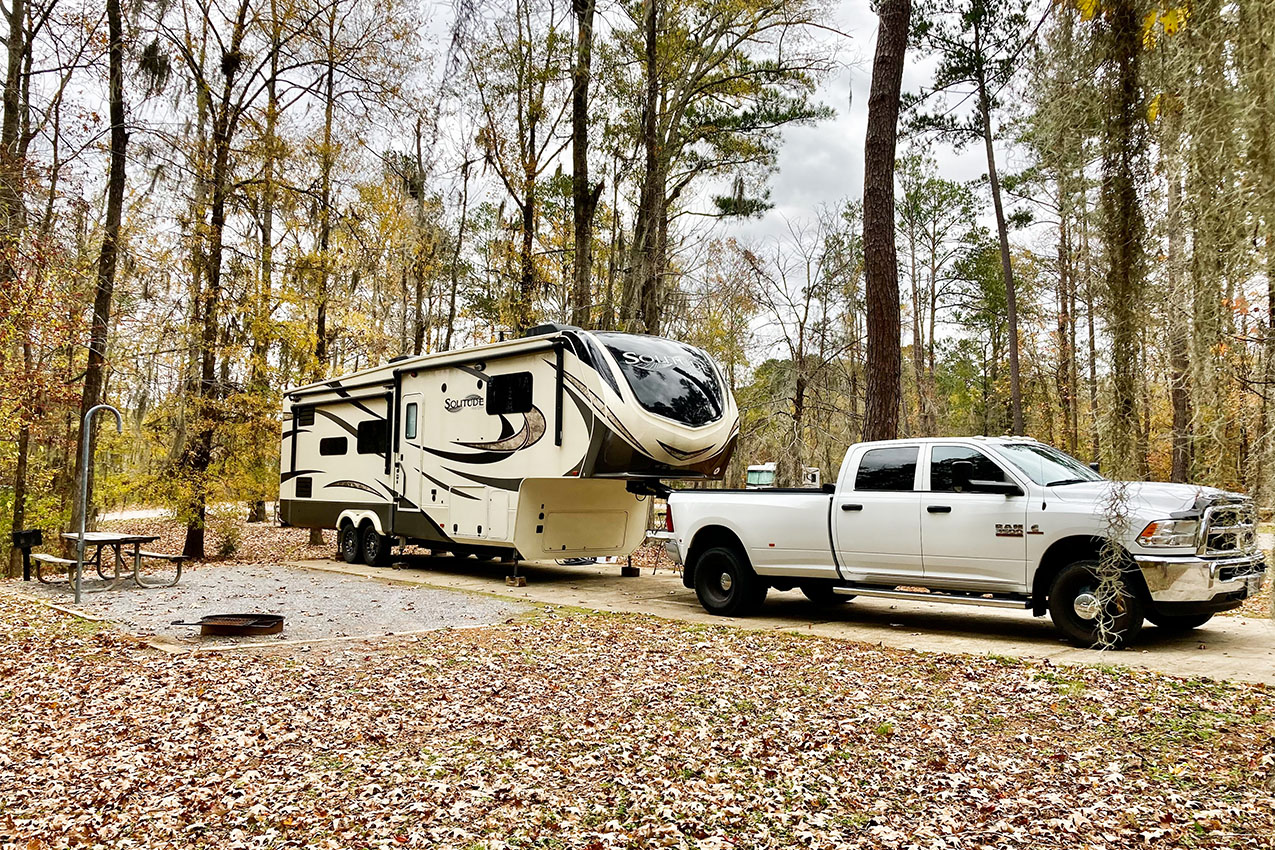Fifth wheel and truck parked in a campsite under tall trees.