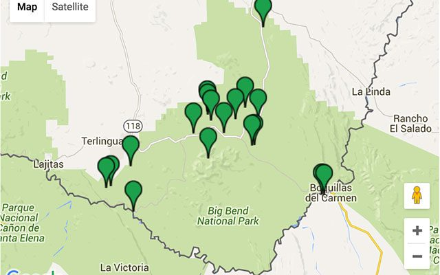 a map of places to camp in Big Bend National Park