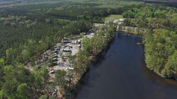 an RV park along a large lake