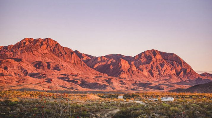 airstream amongst the wild open expanses of the Big Bend region of West Texas