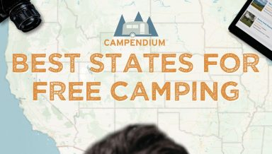 A map of the US with text that reads Best States For Free Camping